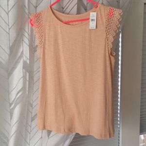 LOFT - blush top with crochet sleeves - NWT